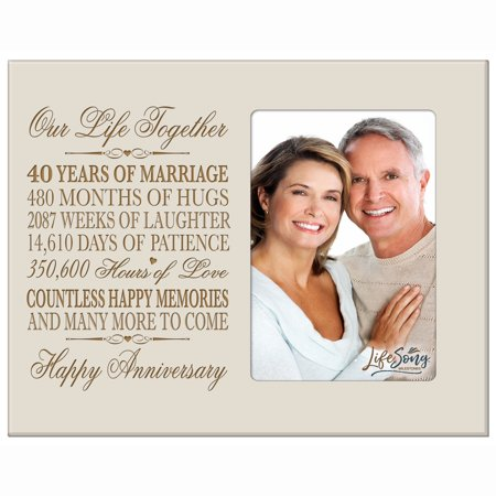 40th Year Anniversary Engraved Picture Frame - Our Life Together - Holds 4x6 photo