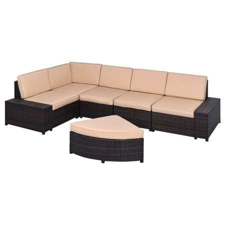 Gymax 6 PCS Patio Rattan Wicker Furniture Set Cushioned Outdoor Garden Patio ()