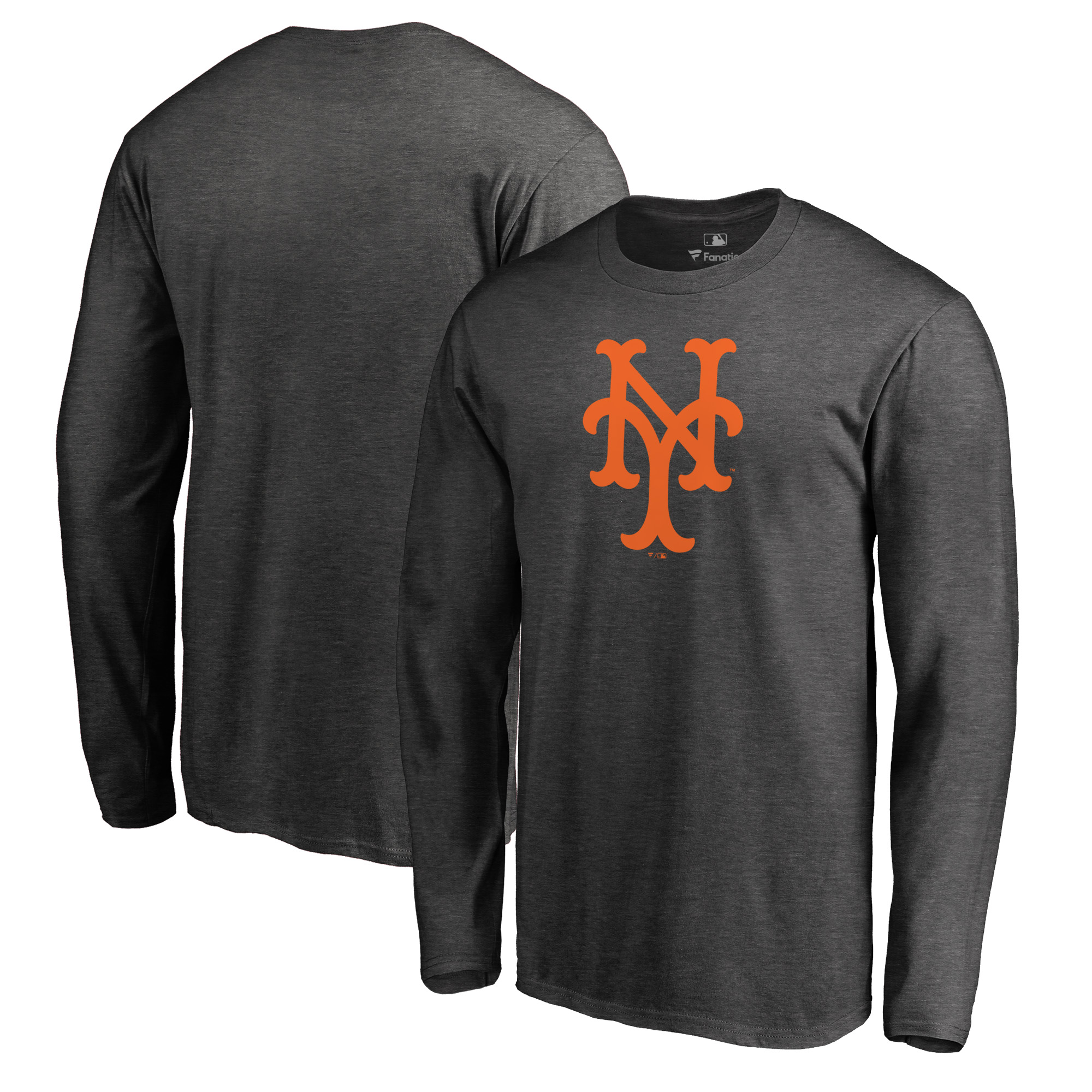 New York Mets Fanatics Branded Cooperstown Collection Huntington Long Sleeve T-Shirt - Heathered Gray