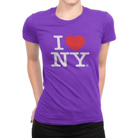 I Love NY New York Womens T-Shirt Spandex Tee Heart Purple Large