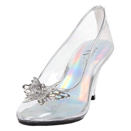 f2d7b2b4c014 SummitFashions - Womens Butterfly High Heels Clear Pumps Silver Trim  Costume Shoes 3 Inch Heels - Walmart.com
