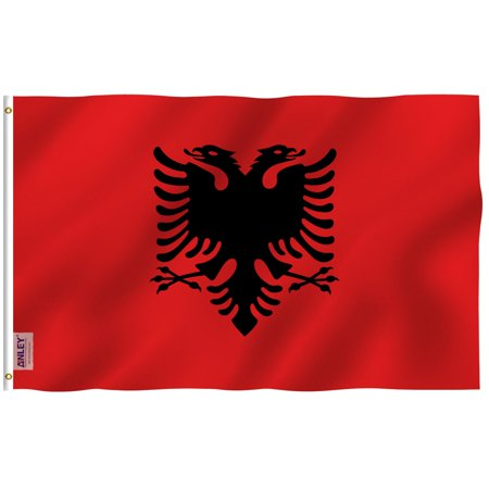 ANLEY Fly Breeze 3x5 Foot Albania Flag - Vivid Color and UV Fade Resistant - Canvas Header and Double Stitched - Albanian National Flags Polyester with Brass Grommets 3 X 5