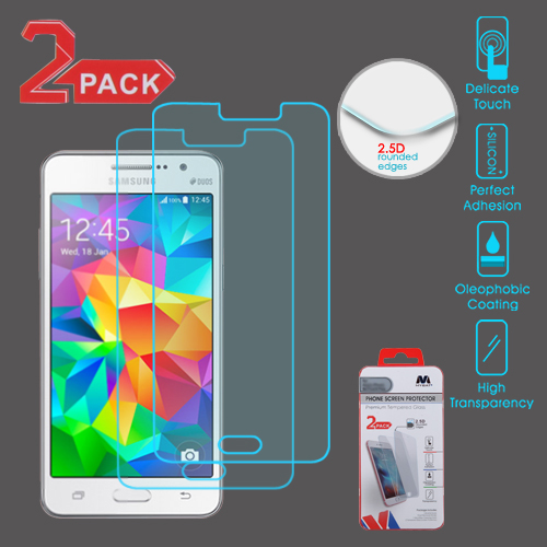 For Samsung Galaxy Grand Prime Clear Tempered Glass Screen Protector (2.5D)2 Pk