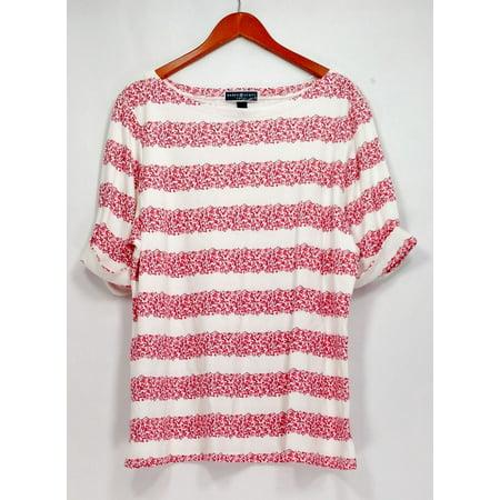 Karen Scott Plus Size Top 2X Printed Boat Neck Knit Top