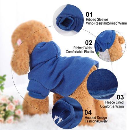 Cotton Dog Winter/Spring/Fall Sweatshirt Hoody Pet Clothes Warm Coat Blue XXL - image 1 of 7
