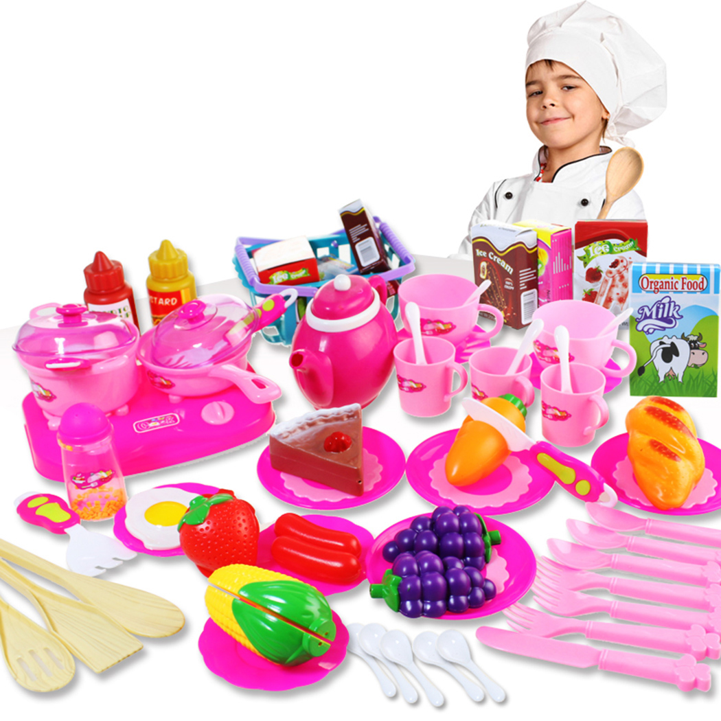 54Pcs Kitchen Toy Set, Justdolife Chef Cooking Cookware Fruit Food Pretend Play Toy Educational Toys Birthday Christmas Gift for Baby Kids Boys Girls (Multicolor)