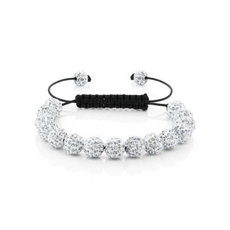 Fully Iced Out Hip Hop 15 White Disco Ball Adjustable Pave (Chime Ball Bracelet)