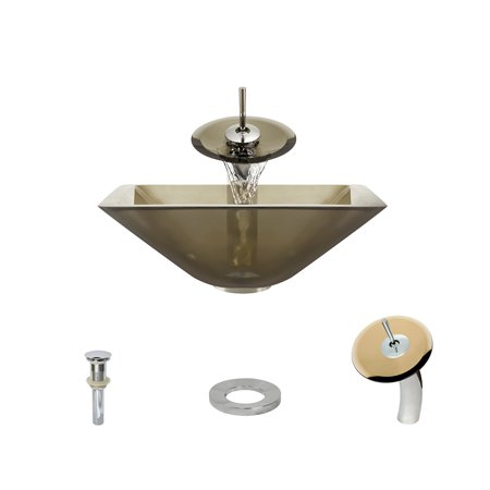 MR Direct 603 Taupe Vessel Sink Ensemble with a Chrome finish waterfal