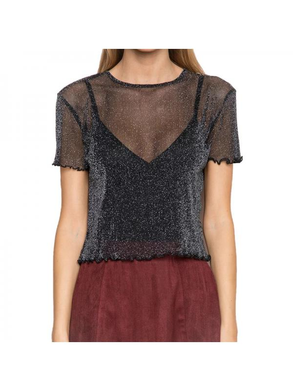 Ropalia Sexy Women See Through Transparent Mesh Short Sleeve Clubwear Tops
