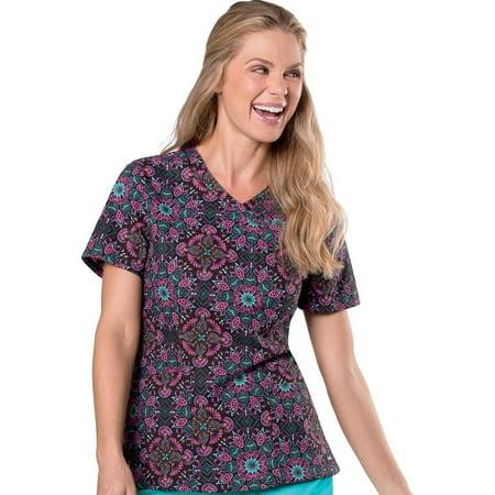 4e2bd3bd9a3 Landau - Landau Women's Mock Wrap Floral Print Tunic Scrub Top - Walmart.com