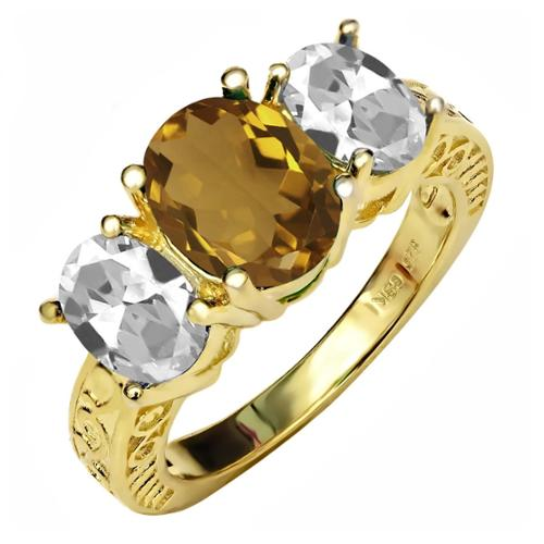 3.10 Ct Oval Champagne Quartz White Topaz 18K Yellow Gold Plated Silver Ring