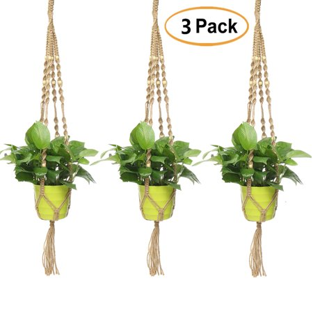 3Pcs 33.5 inch Plant Flower Hanger Hemp Jute Rope Plant Macrame Pot Holder Hanging Basket with