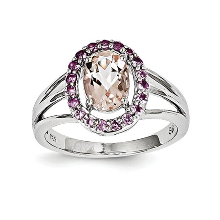 Primal Silver Sterling Silver Rhodium Morganite and Pink Sapphire Oval Ring Morganite Pink Sapphire Ring