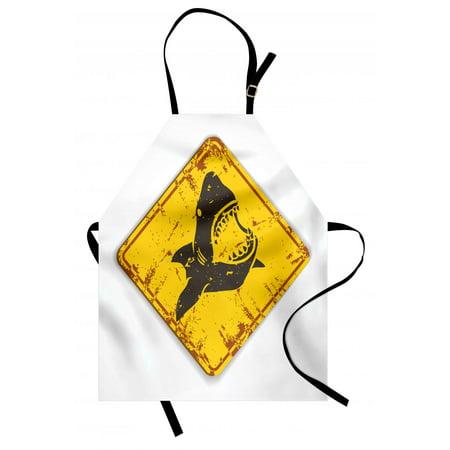 Shark Apron Caution Shark Sign Sharp Teeth Animal Ocean Danger Do Not Swim Illustration, Unisex Kitchen Bib Apron with Adjustable Neck for Cooking Baking Gardening, Earth Yellow Grey, by Ambesonne (Shark Apron)