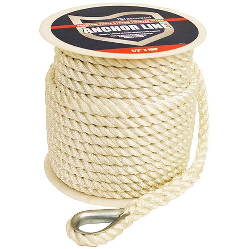 Attwood 200' Anchor Rope With Thimble, White
