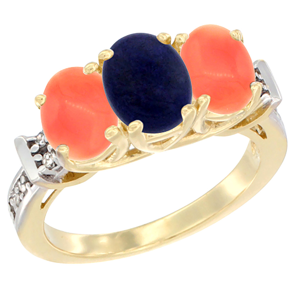 10K Yellow Gold Natural Lapis & Coral Sides Ring 3-Stone Oval Diamond Accent, sizes 5 10 by WorldJewels