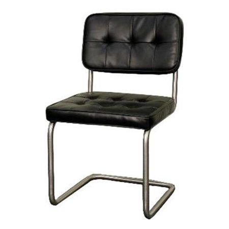 New Pacific Direct 428133P B Bs Bauer Kd Pu Tufted Chair Brushed Stainless Legs  44  Black   Set Of 2