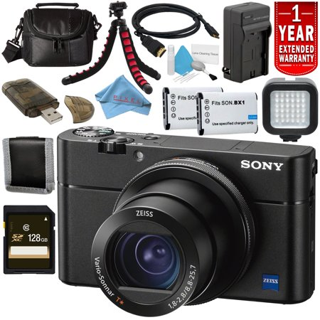 Sony Cyber-shot DSC-RX100 VA Digital Camera DSC-RX100M5A/B + NP-BX1 Replacement Lithium Ion Battery + External Rapid Charger + 128GB SDXC Card + Small Soft Carrying Case + Flexible Tripod