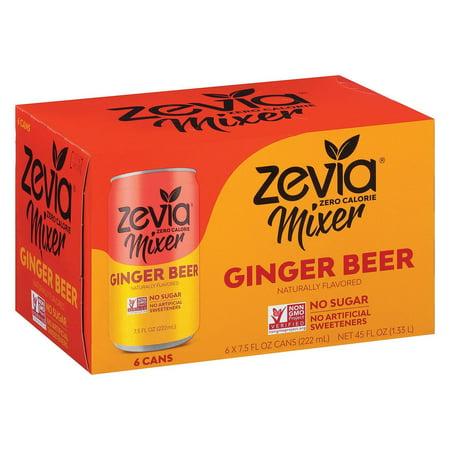 Zevia Zero Calorie Mixer - Ginger Beer - pack of 4 - 6/7.5 Fl