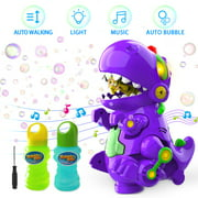 WisToyz Bubble Machine 8.6 Inch Automatic Bubble Blower Dinosaur Bubble Toy for Kids Boys Girls,1000+ Bubbles Per Minute,Walk & Keep Still, Music & Light,Bump N Go Feature,2 Bubble Solution