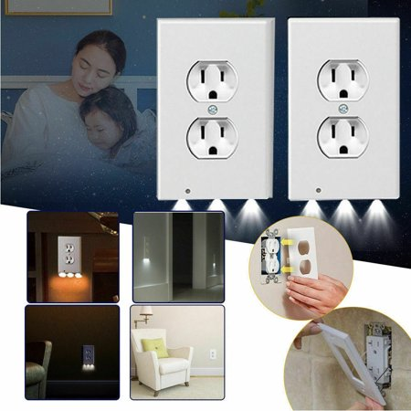 Night Plate Plug Cover 3LED Lights Angel Wall Outlet Cover Hallway Bathroom Double Hole