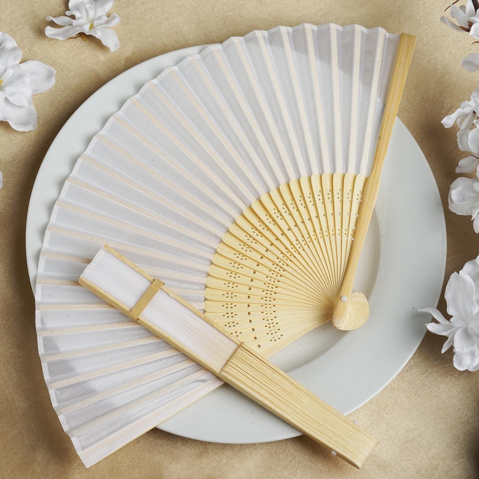 BalsaCircle Decorative Silk Fabric Folding Hand Fans Wedding Favors ...