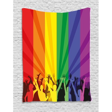 Pride Decorations Tapestry, People Celebrating International Day for LGBT Community Colorful Striped, Wall Hanging for Bedroom Living Room Dorm Decor, 40W X 60L Inches, Multicolor, by Ambesonne