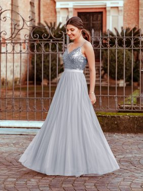 40f5d32e6f2 Product Image Ever-Pretty Womens Sequin V Neck Long Evening Prom Party  Dresses for Women 73922 Silver