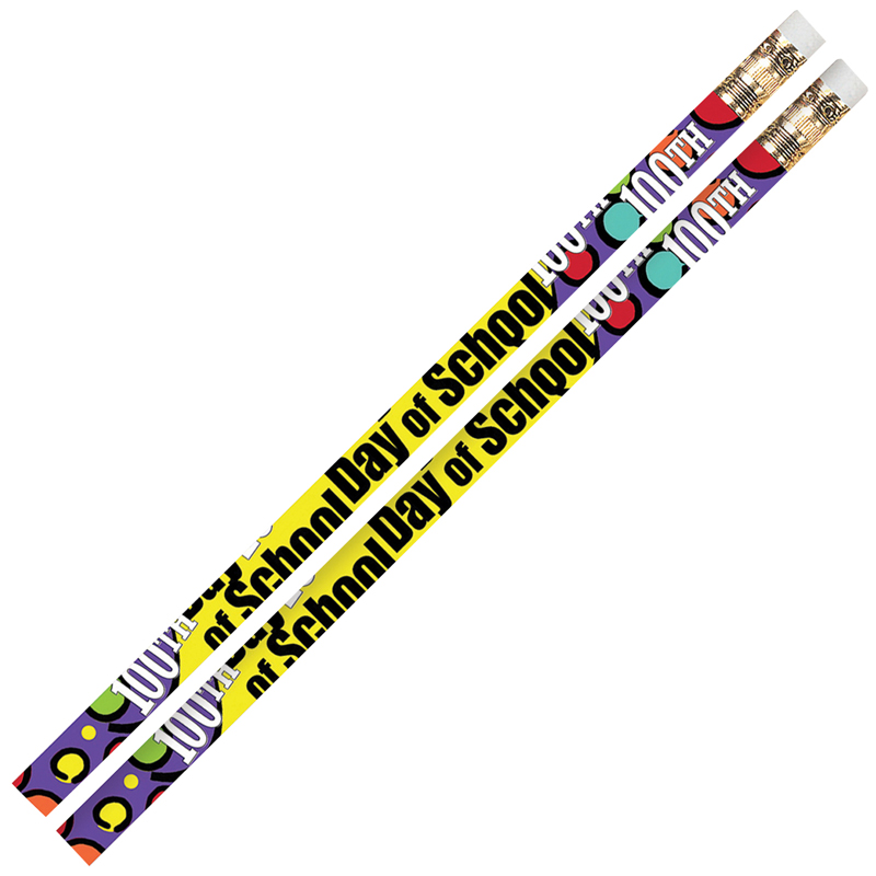 100TH DAY OF SCHOOL 12PK MOTIVATIONAL FUN PENCILS