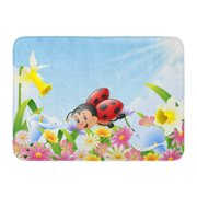 GODPOK Insect Colorful Adorable Cartoon Funny Ladybug Flying Over Flower Field Green Garden Spring Rug Doormat Bath Mat 23.6x15.7 inch