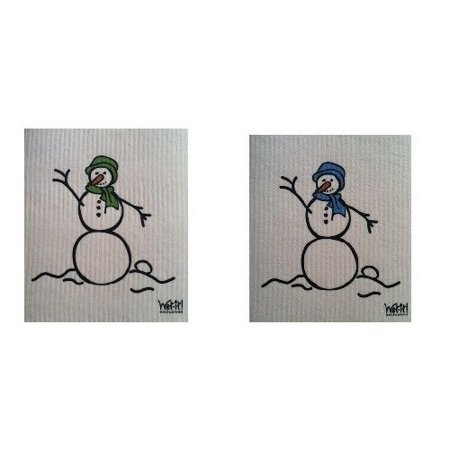 Wet-It Blue & Green Snowman Swedish Kitchen Bathroom Dishcloths Towels Set of 2