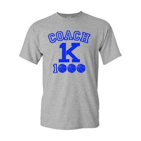 Coach Basketball T-shirt (New Coach K 1000 Wins Basketball Adult DT T-Shirt Tee )