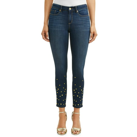 Dark Wash Denim Mini (Sofia Skinny Studded Mid Rise Stretch Ankle Jean Women's (Dark)