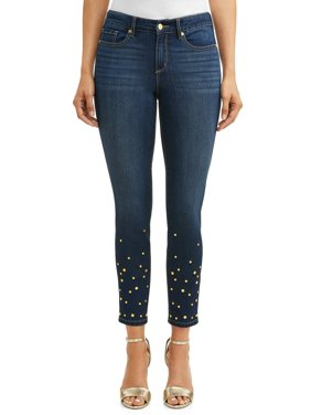 Sofia Skinny Studded Mid Rise Stretch Ankle Jean Women's