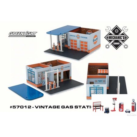 Diecast Car & Chevron Shop Tools Package - Mechanic's Corner Vintage Gas  Station, Gulf Oil - Greenlight 57012 - 1/64 Scale Accoessory for Diecast