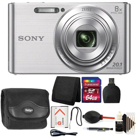 Sony DSC-W830 20.1MP Point and Shoot Digital Camera (Silver) with 64GB Accessory