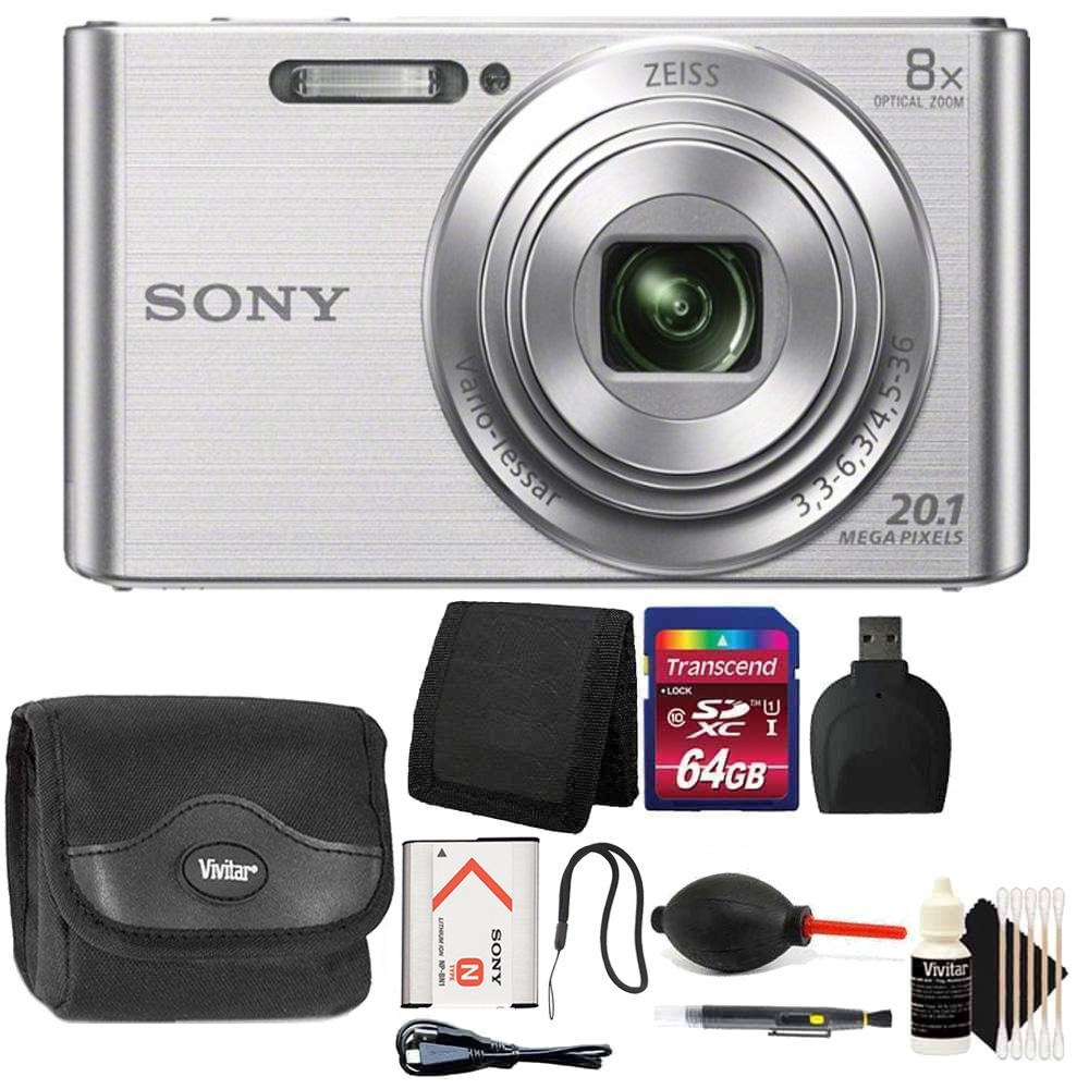 Sony DSC-W830 20.1MP Point and Shoot Digital Camera (Silver) with 64GB Accessory Kit
