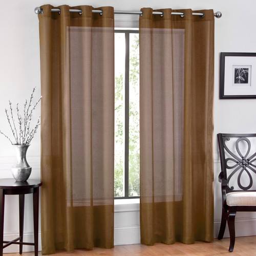 Ruthy's Textile Window Sheet Solid Sheer Grommet Curtain Panels (Set of 2)