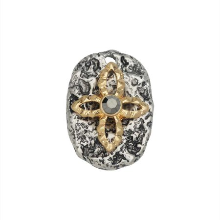 Zola Elements Pendant, Oval with Cross Embellishment 22x15.5mm, 1 Piece, Antiqued Silver Tone