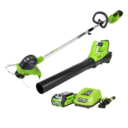 Greenworks G-MAX 40V Cordless String Trimmer & Blower Combo Pack, Battery & Charger Included STBA40B210 ()