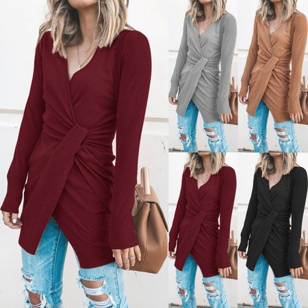 Emmababy - Women Knitted Long Sleeve V Neck Lace Up Sweater Jumper ... 3e94a06af