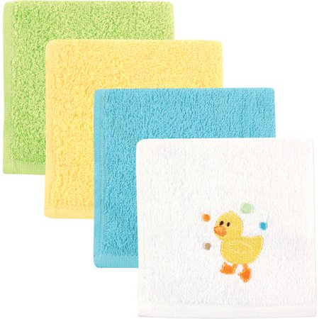Luvable Friends Baby Woven Terry Washcloths, Yellow Duck, 4 Pack