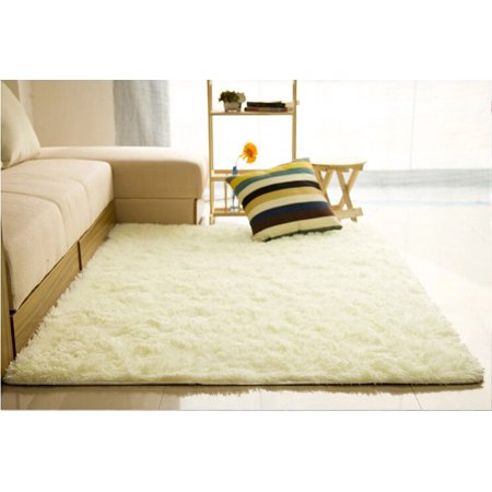 48x32 inch Soft Fluffy Floor Rug Anti-skid Shag Shaggy Area Rug Bedroom Dining Room Carpet Child Play Mat Environmentally Friendly Easy To (Best Way To Clean Shag Carpet)