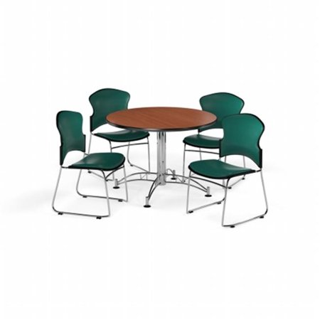 Ofm Pkg Brk 059 0016 Breakroom Package Featuring 42 In  Round Multi Purpose Table With Four Multi Use Stack Vinyl Seat   Back Chairs