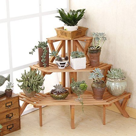 703E Solid Wood Step Style 3 Tier Corner Shelf Flower Rack Quarter Round Etagere Plant