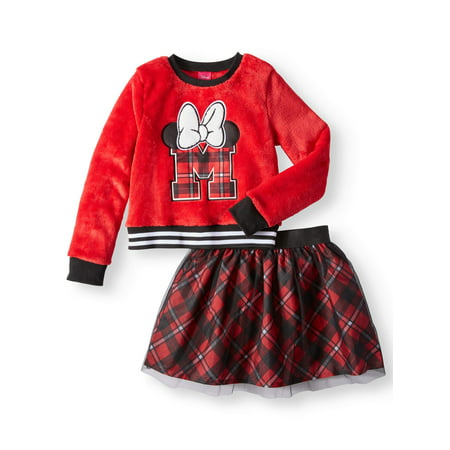 Varsity Plush Sweatshirt and Tulle Scooter, 2-Piece Outfit Set (Little Girls & Big Girls) - Minnie Mouse Outfit For Women