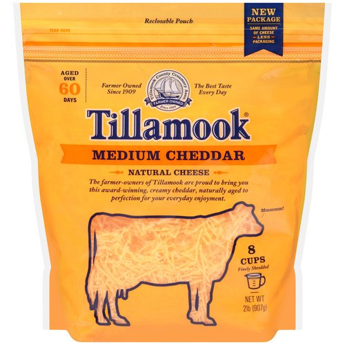 Tillamook Finely Shredded Medium Cheddar Cheese, 2 lb