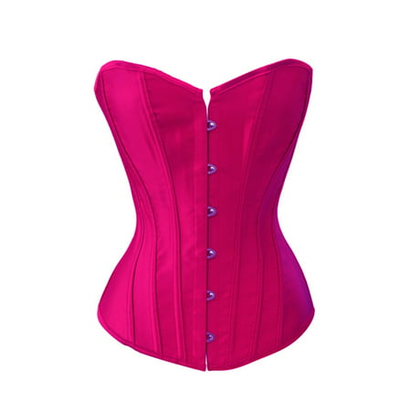 e6cbc63782bfc Chicastic - Chicastic Hot Pink Satin Sexy Strong Boned Corset Lace Up  Bustier Top - X-Large - Walmart.com