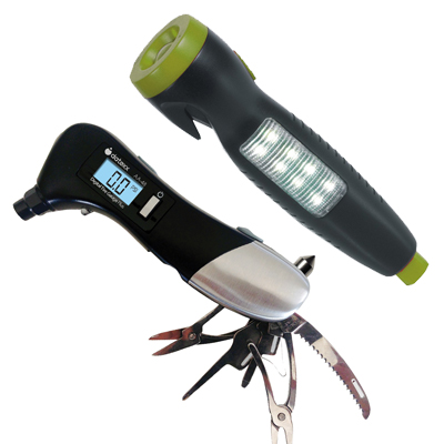 Combo Auto Safety Kit AA-48 TireGauge, Window Hammer and AA-52 LED emergency light window breaker seatbelt cutter