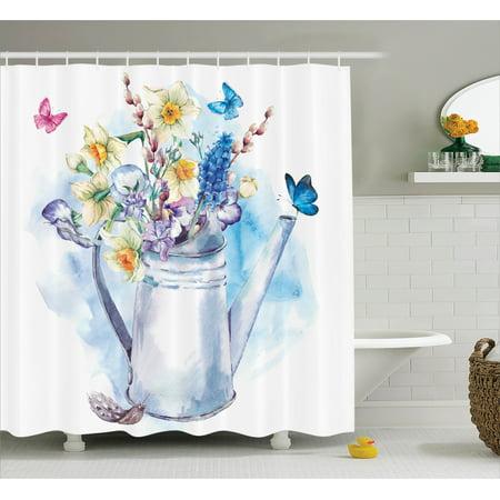 Flower shower curtain set summer bouquet with violets for Summer bathroom decor